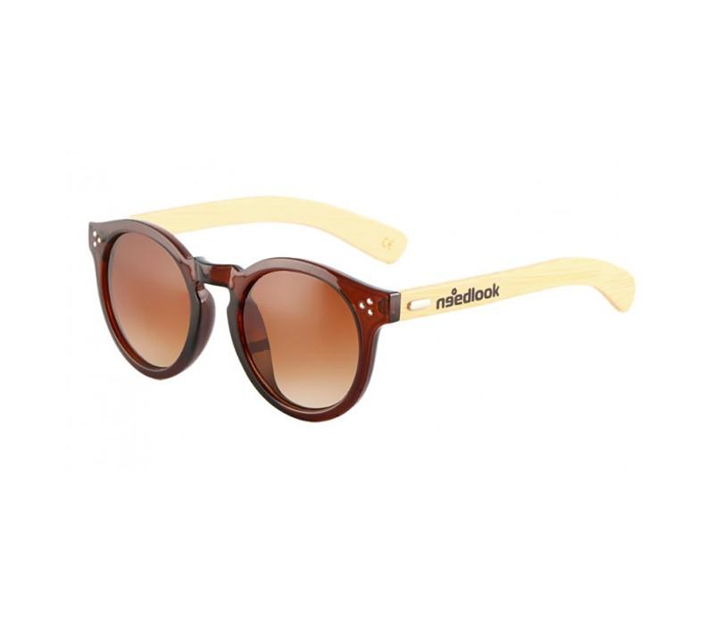 6f0813cdc0 Gafas de sol polarizadas de bamboo con acabado redondo marrón brillante y  cristal marrón.