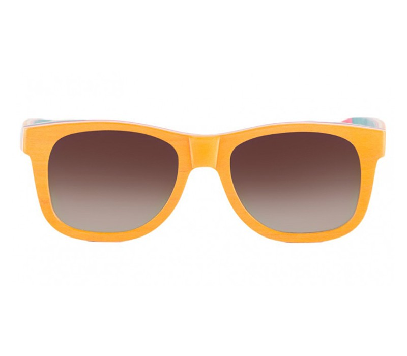 FULL BAMBOO ORANGE WAYFARER / BLACK